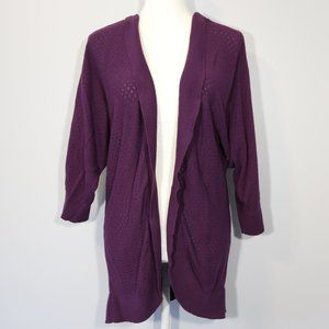 Mossimo Purple Open Front 3/4 Sleeve Long Cardigan